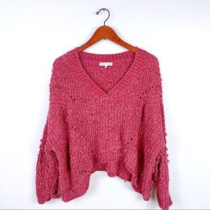 Woven Heart Over Size Slouchy Cropped Sweater